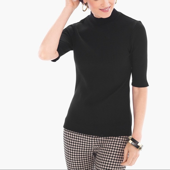 Chico's Tops - 💐NEW Chico's Black Label Ribbed Sweater Neck Top